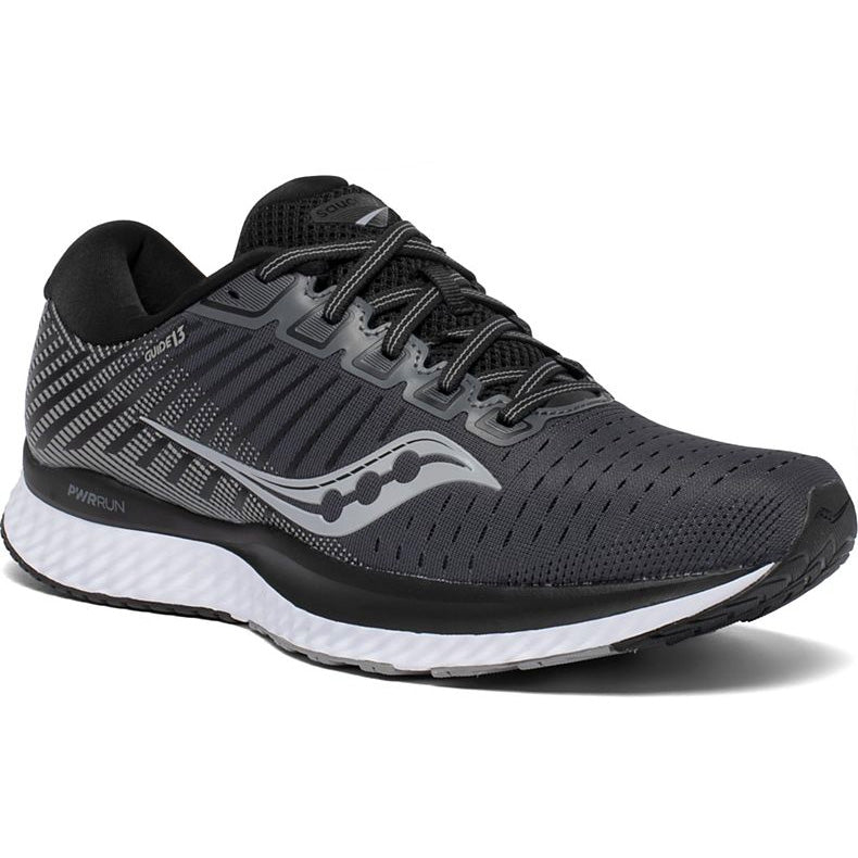 Saucony Men's Guide 13 Running Shoes Black / White - achilles heel