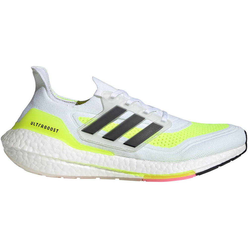 adidas Men's Ultraboost 21 Running Shoes White Cloud / Core Black / Solar Yellow - achilles heel