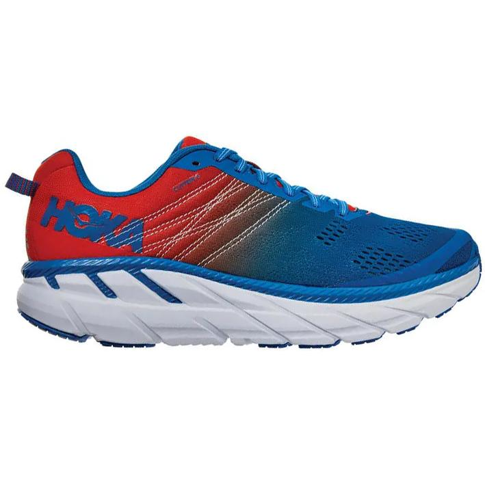 Hoka Men's Clifton 6 Running Shoes Mandarin Red / Imperial Blue - achilles heel