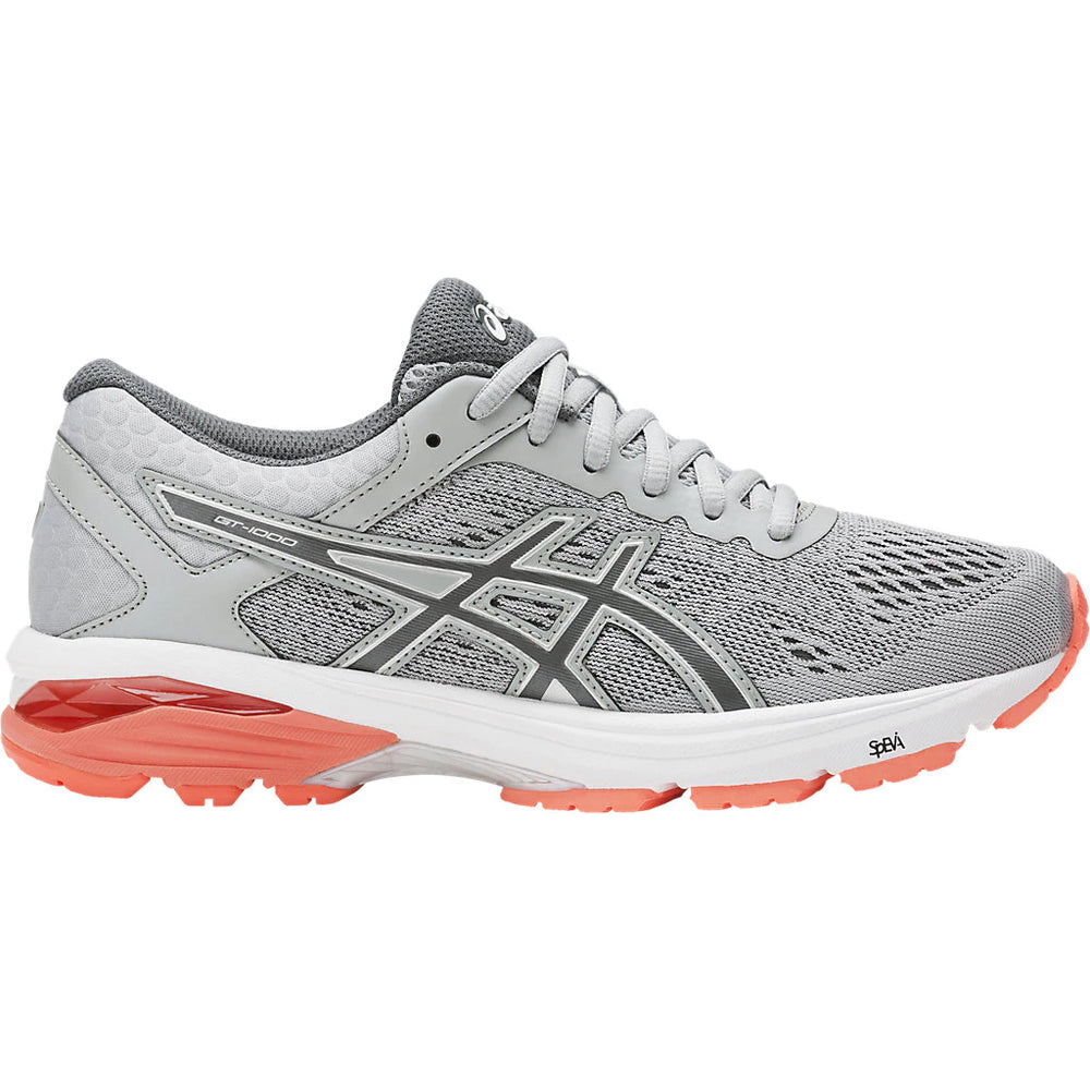 Asics Women's GT-1000 6 Mid Grey / Carbon / Flash Coral - achilles heel