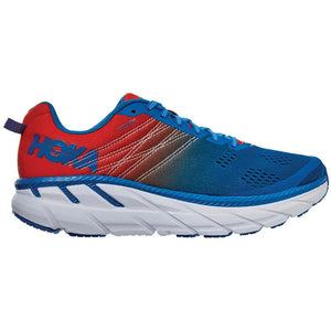 Hoka Men's Clifton 6 2E Width Running Shoes Mandarin Red / Imperial Blue - achilles heel