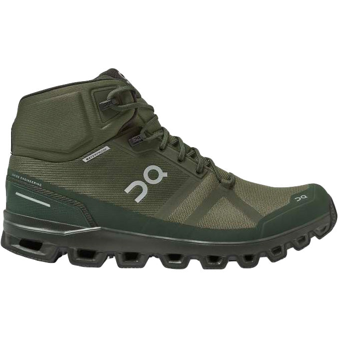 On Men's Cloudrock Waterproof Walking Boots Jungle / Fir - achilles heel