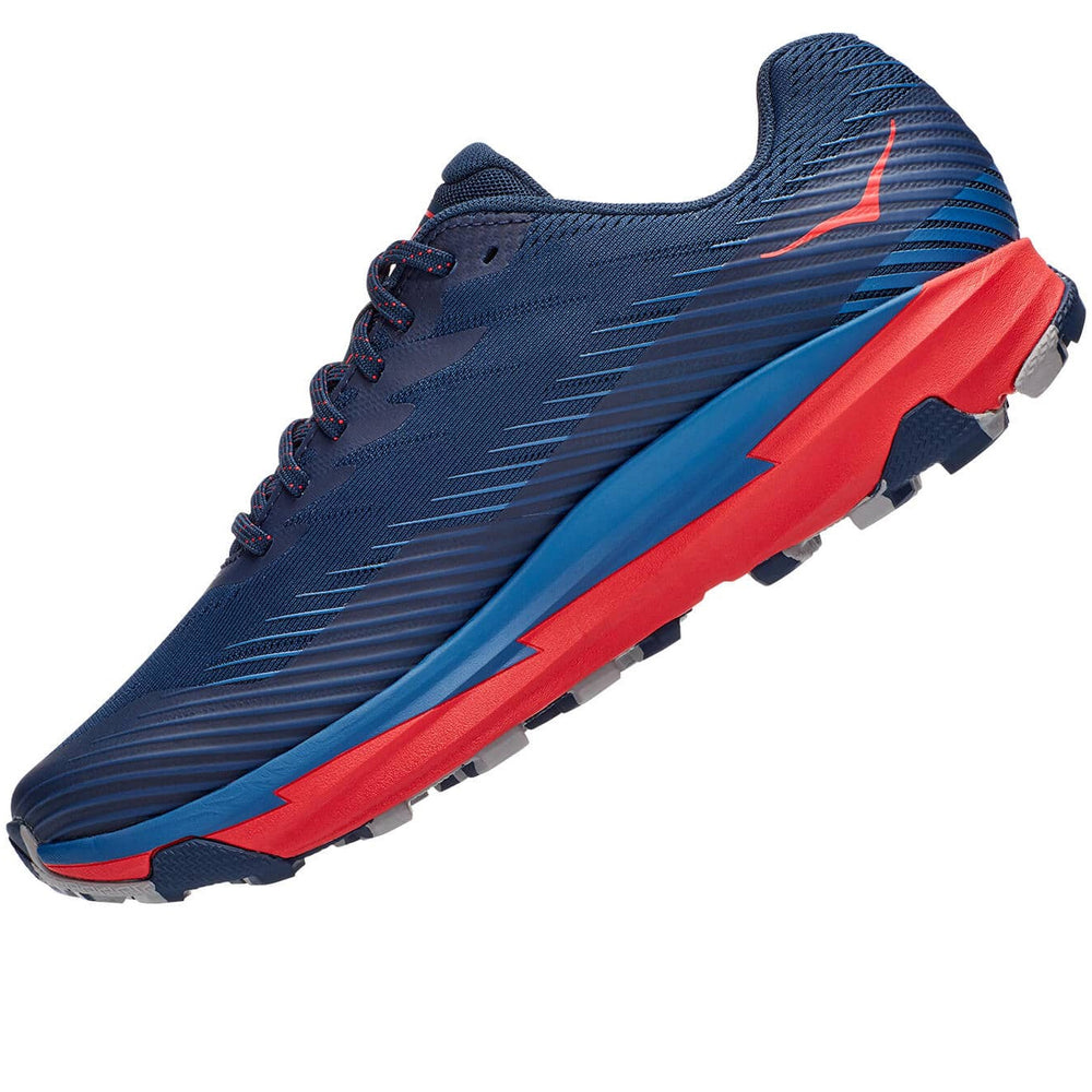 Hoka Men's Torrent 2 Trail Running Shoes Moonlit Ocean / High Risk Red - achilles heel