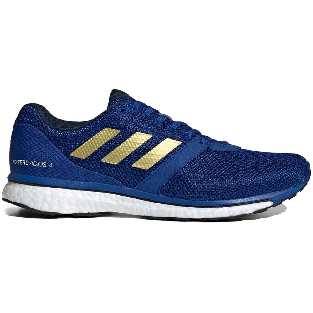 adidas Men's adiZero Adios 4 Running Shoes Collegiate Royal / Gold Metallic / Navy - achilles heel