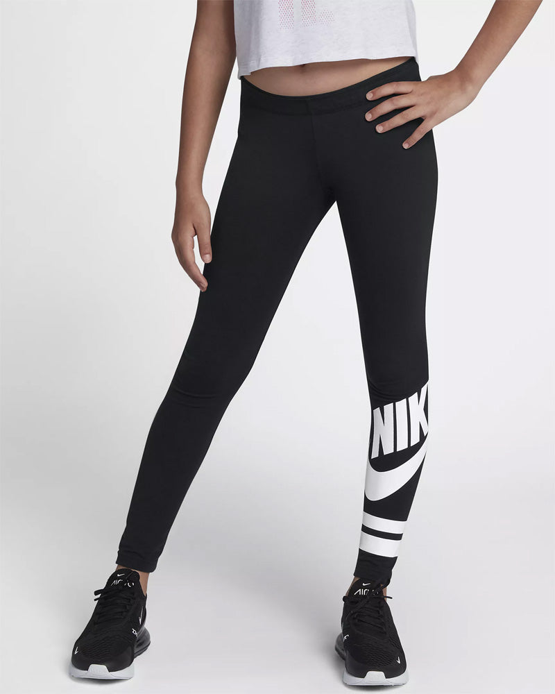 Nike Girls Sportswear Graphic Legging Black / White