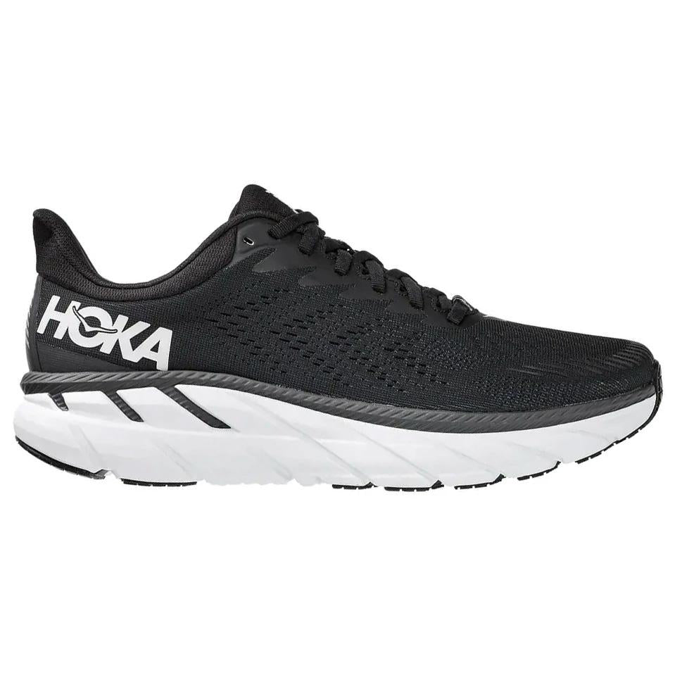 Hoka Women's Clifton 7 Wide Fit Running Shoes Black / White - achilles heel