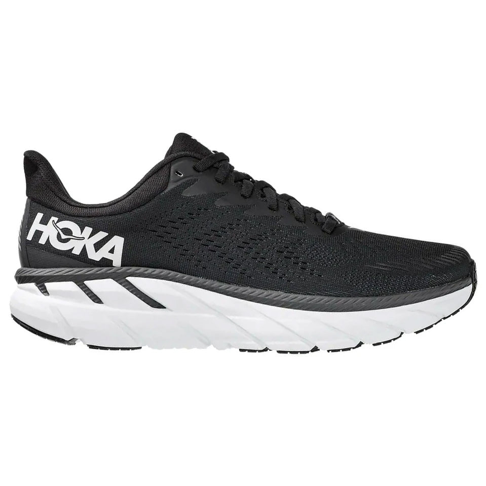 Hoka Men's Clifton 7 2E Width Running Shoes Black / White - achilles heel