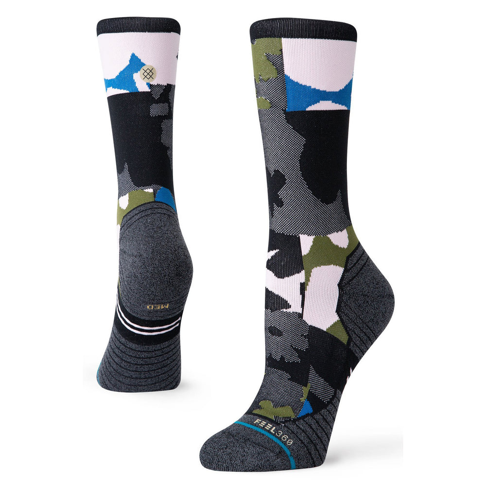 Stance Women's Caught Run Crew Socks Black - achilles heel