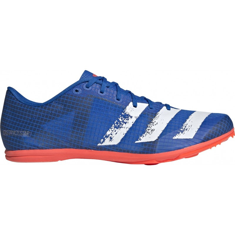 adidas Men's Distancestar Running Spikes Blue / Red / White - achilles heel