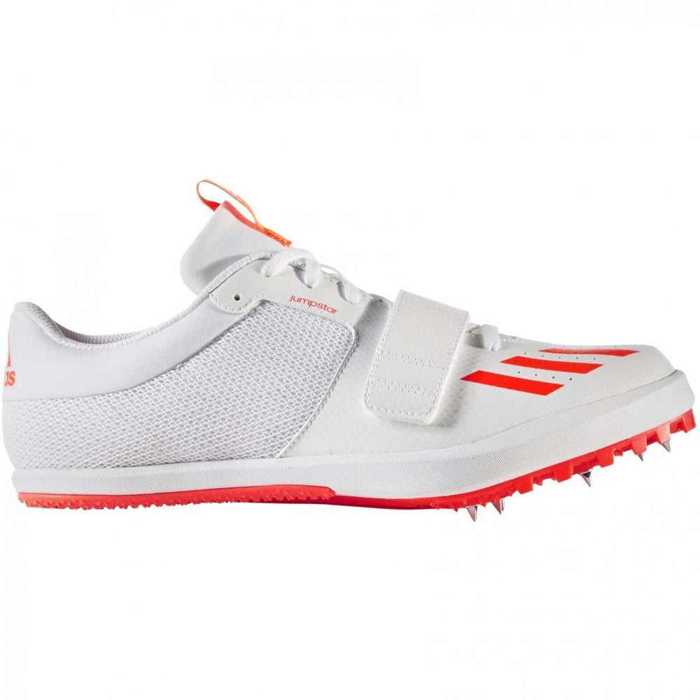 adidas Jumpstar Field Spikes White / Solar Red - achilles heel
