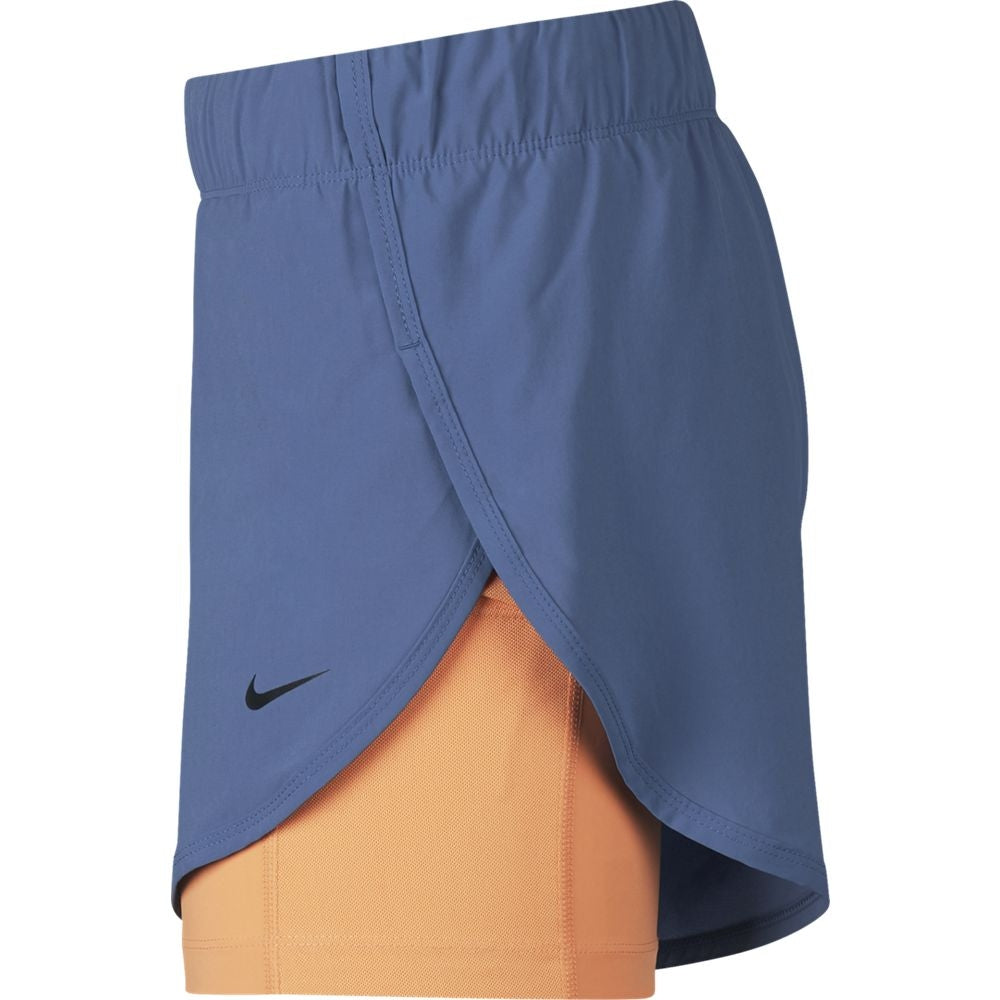 Nike Women's Flex 2 In 1 Short Indigo Storm & Fuel Orange - achilles heel