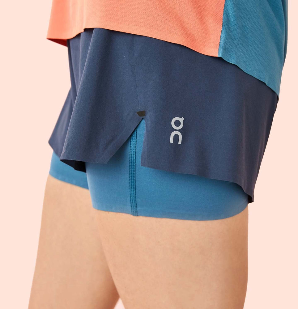 On Women's Running Shorts Navy & Storm - achilles heel