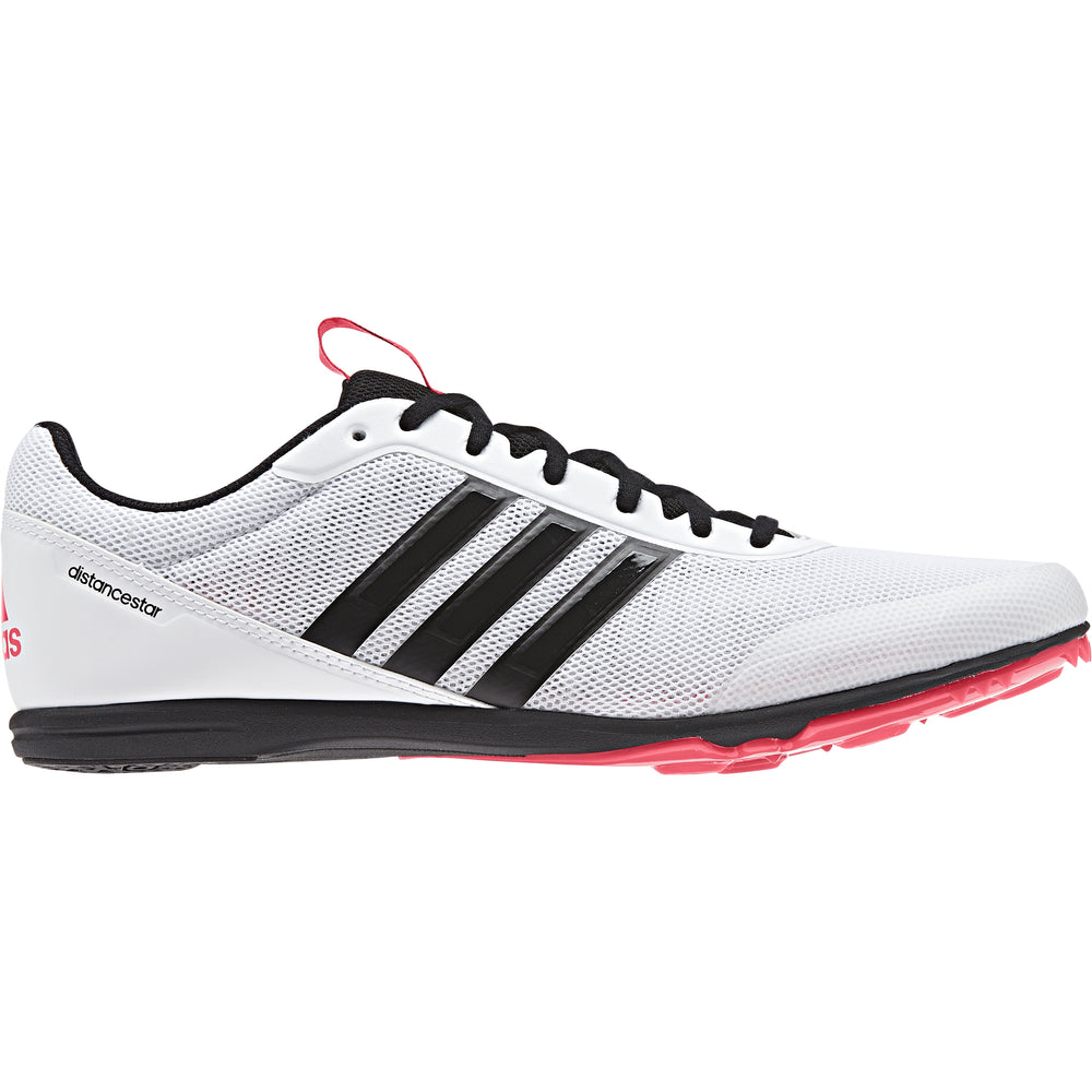 adidas Distancestar Running Spikes White / Black /  Red - achilles heel