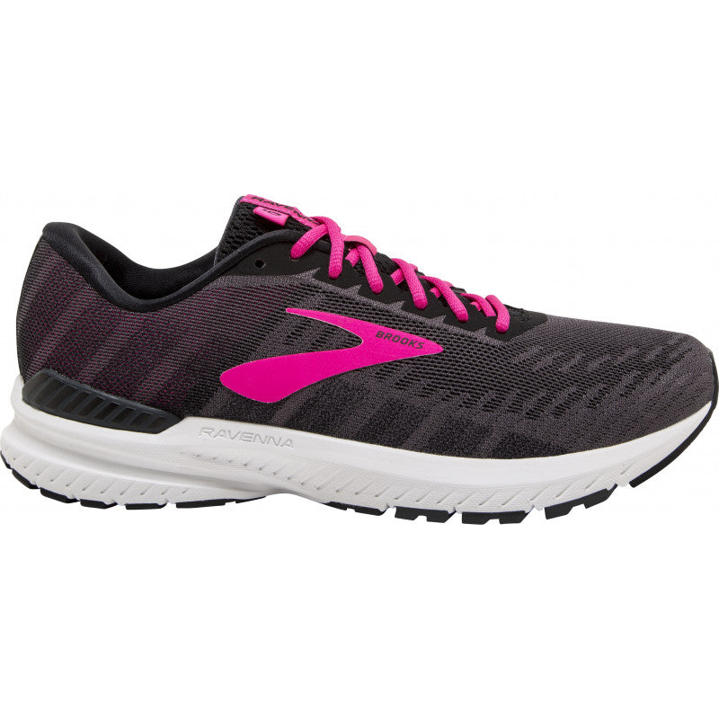 Brooks Women's Ravenna 10 Running Shoes Ebony / Black / Pink - achilles heel