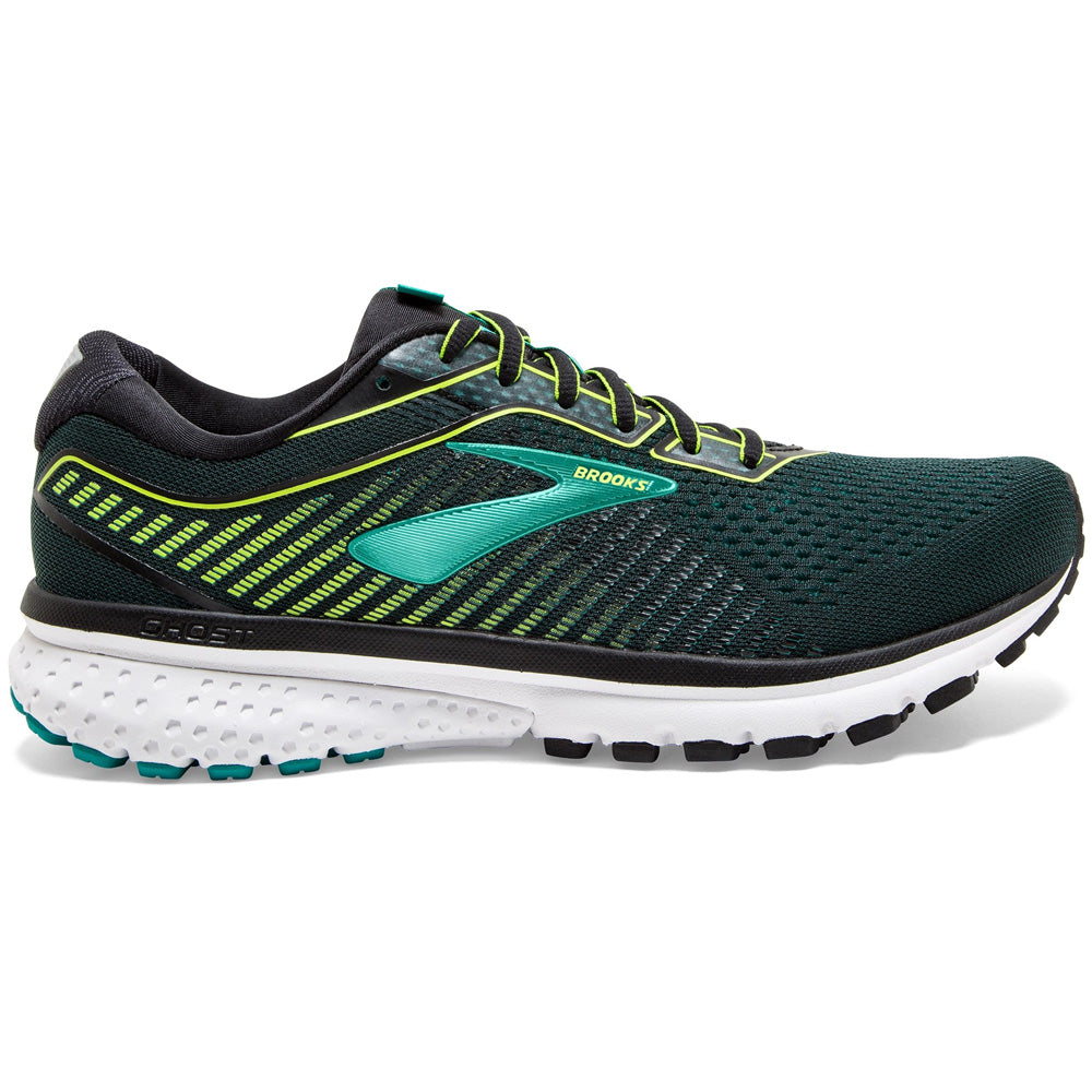 Brooks Men's Ghost 12 Running Shoes Black / Lime / Blue - achilles heel