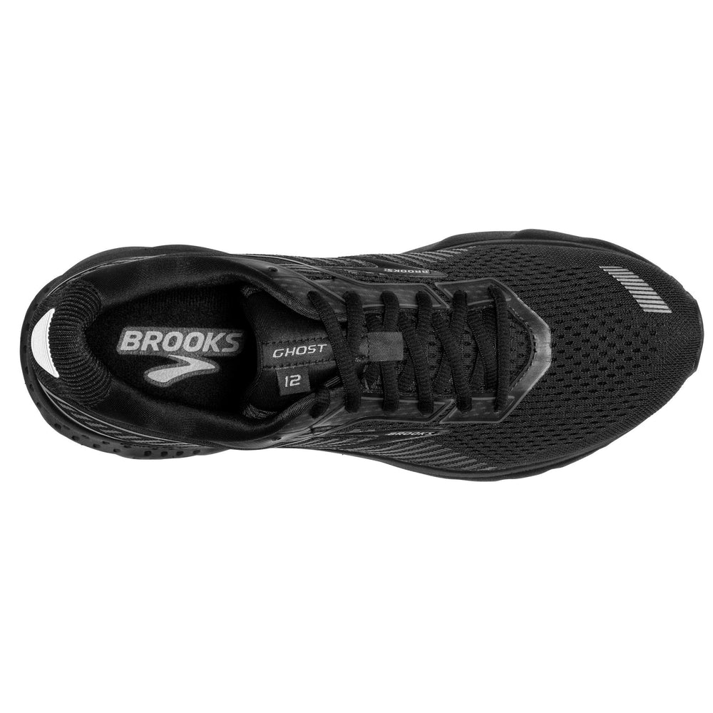 Brooks Men's Ghost 12 2E Width Running Shoes Black / Grey - achilles heel