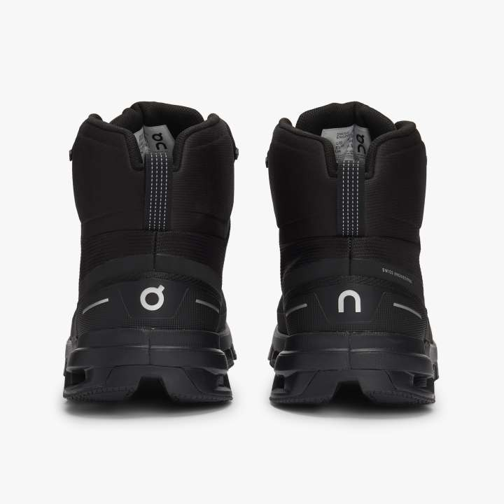 On Men's Cloudrock Waterproof Walking Boots Black - achilles heel