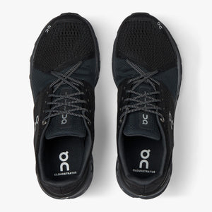 On Men's Cloudstratus Running Shoes Black  /  Shadow - achilles heel