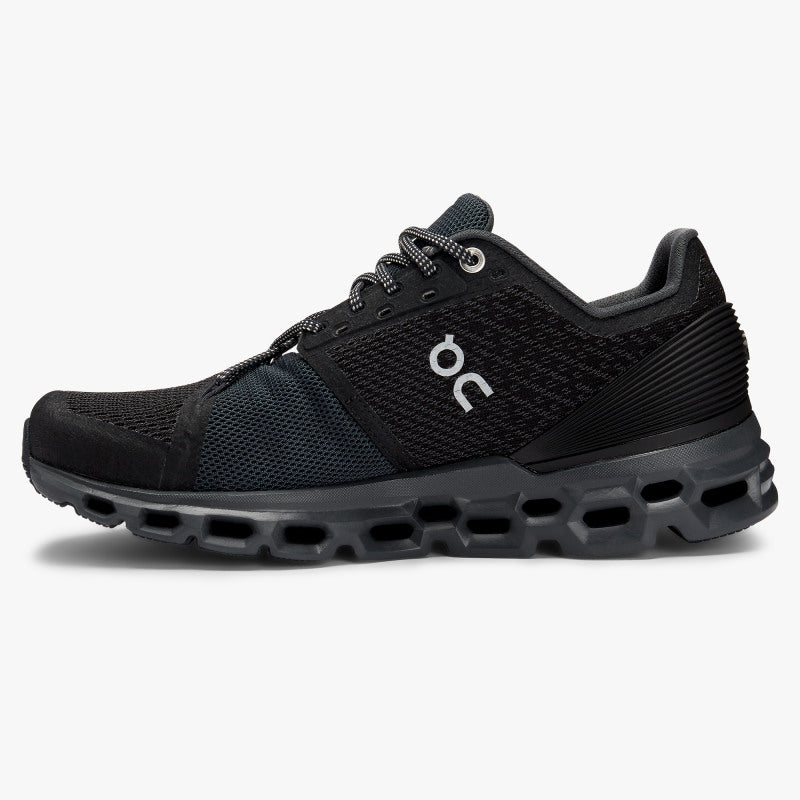 On Women's Cloudstratus Running Shoes Black /  Shadow - achilles heel