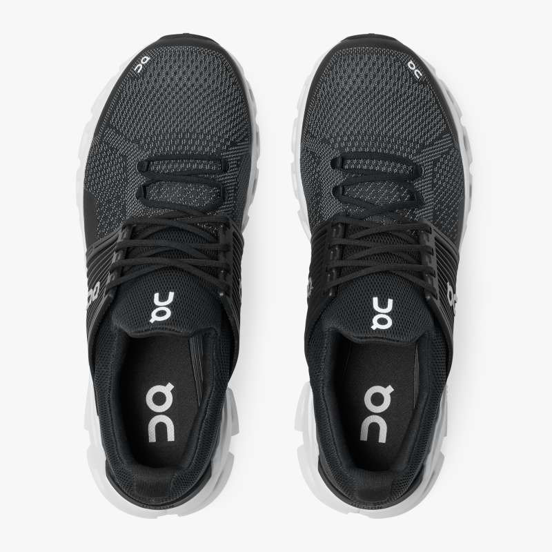 On Men's Cloudswift Running Shoes Black / Rock - achilles heel