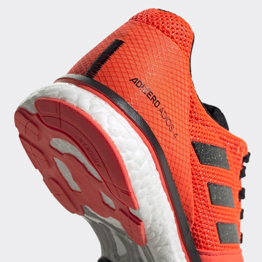adidas Men's adiZero Adios 4 Running Shoes Orange / Core Black - achilles heel