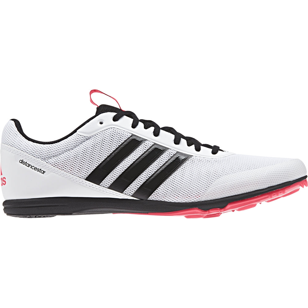 adidas Women's Distancestar Running Spikes White /  Black /  Red - achilles heel