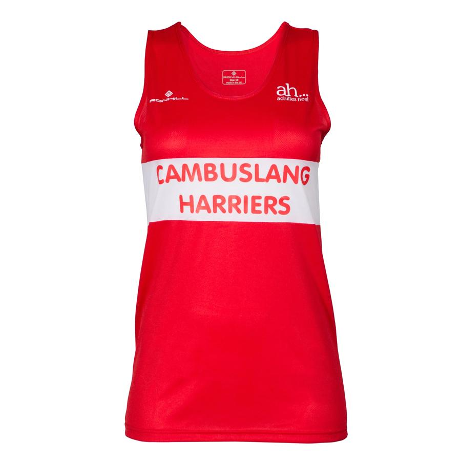 Cambuslang Harriers Women's Vest Red & White - achilles heel