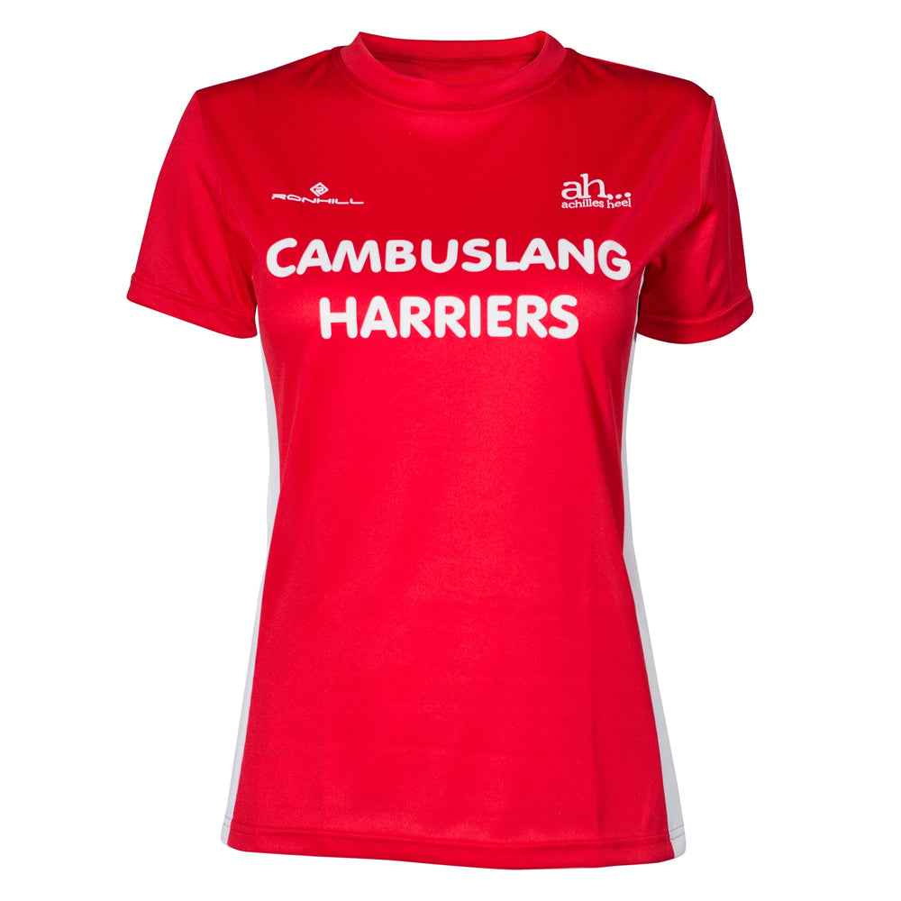 Cambuslang Harriers Women's Tee Red & White - achilles heel