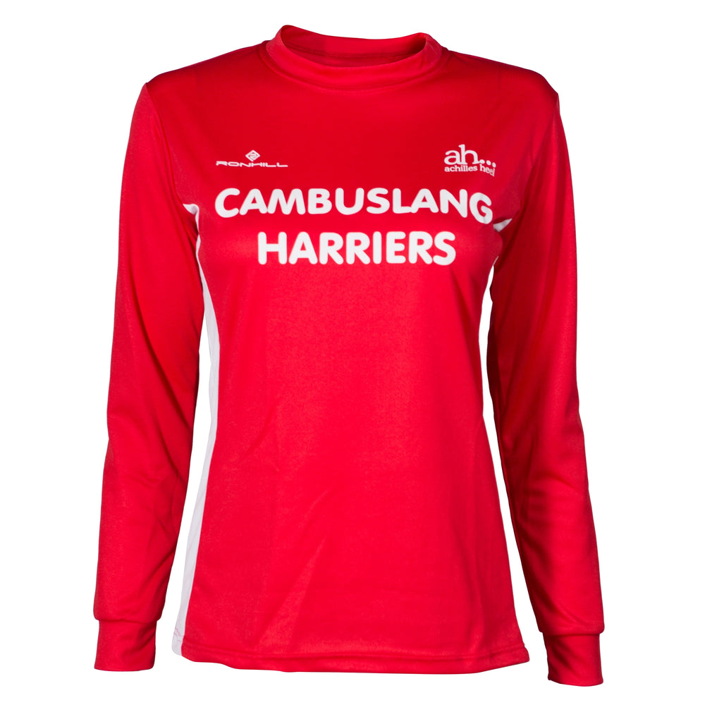 Cambuslang Harriers Women's LS Top Red & White