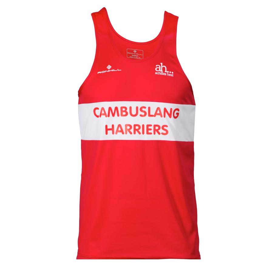 Cambuslang Harriers Men's Vest Red & White - achilles heel