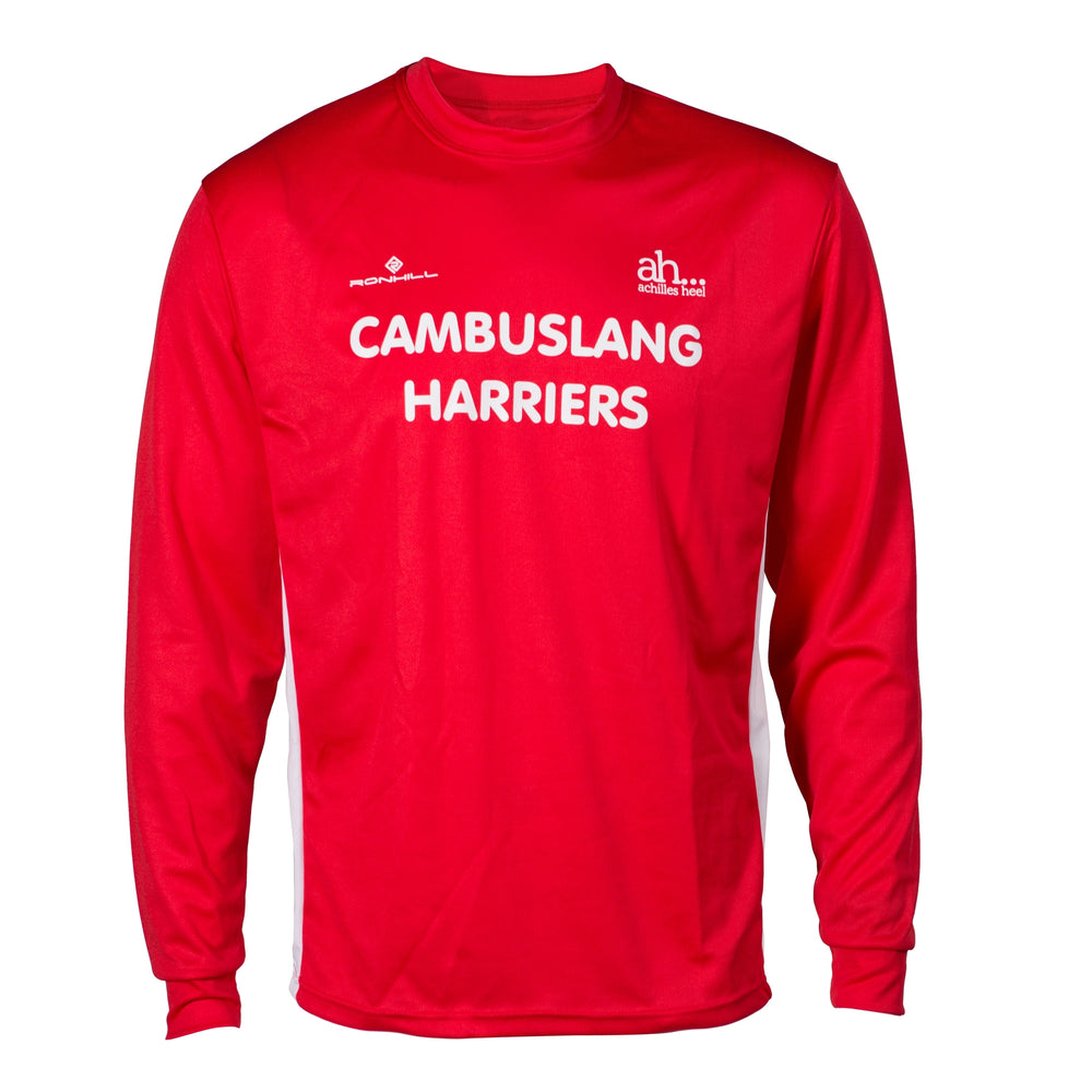 Cambuslang Harriers Men's LS Top Red & White - achilles heel
