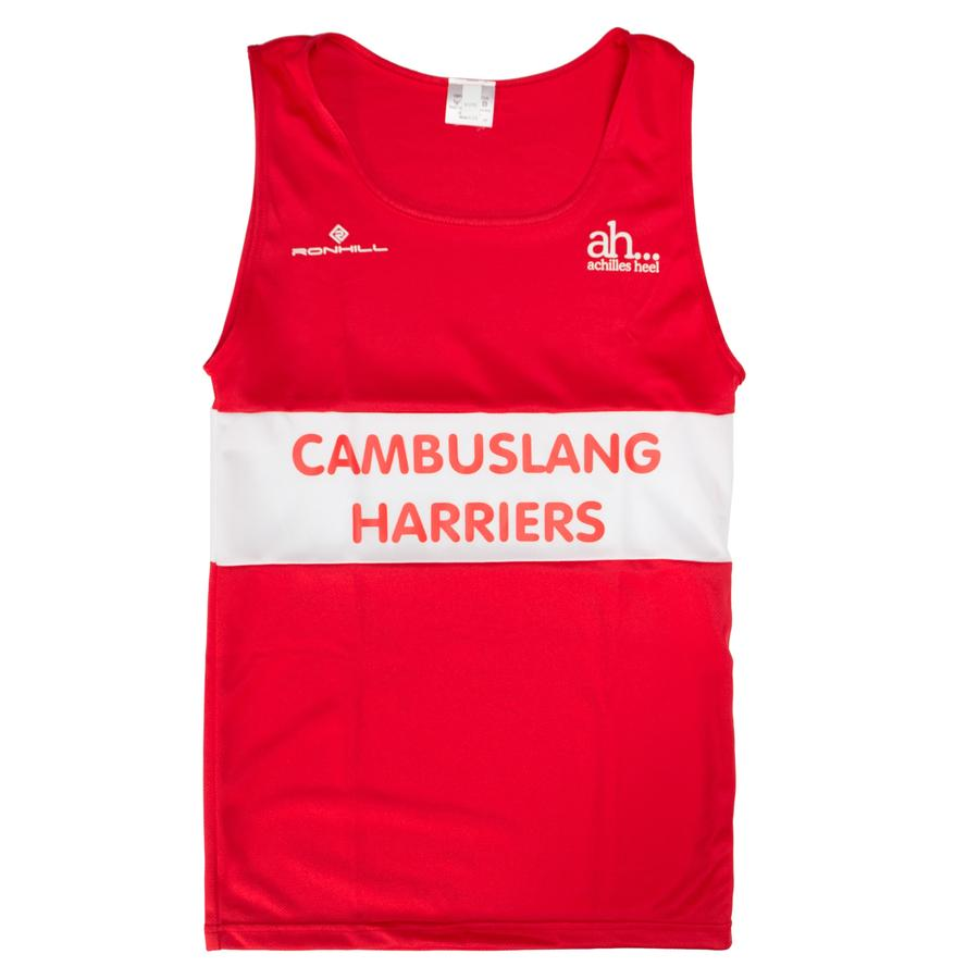 Cambuslang Harriers Kids Vest Red & White - achilles heel