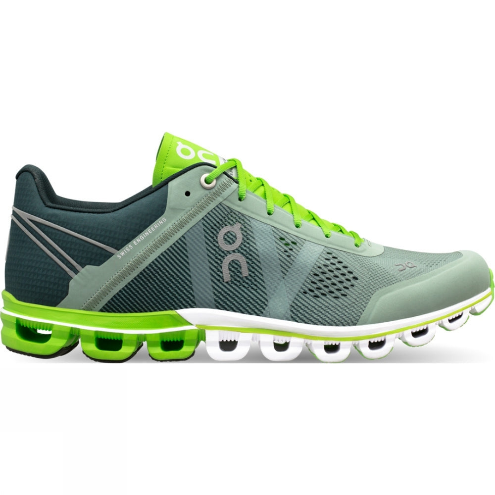 On Men's Cloudflow Running Shoes Moss & Lime