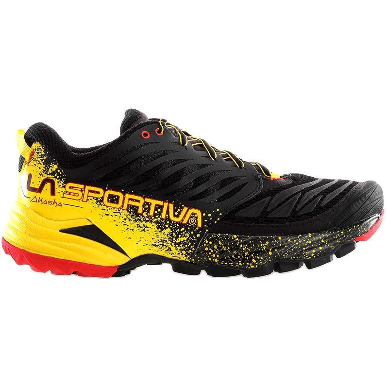 La Sportiva Men's Akasha Trail Running Shoes Black /  Yellow - achilles heel