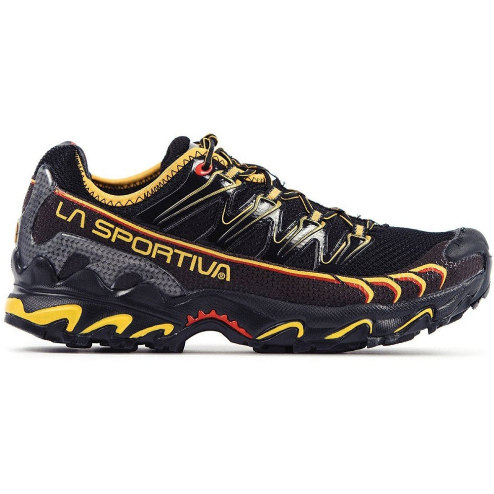 La Sportiva Men's Ultra Raptor Trail Running Shoes Black /  Yellow - achilles heel