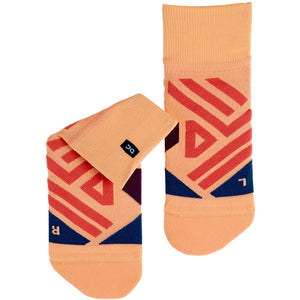 On Women's Mid Sock Coral / Navy - achilles heel