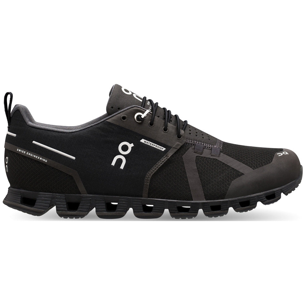 On Men's Cloud Waterproof Running Shoes Black / Lunar - achilles heel
