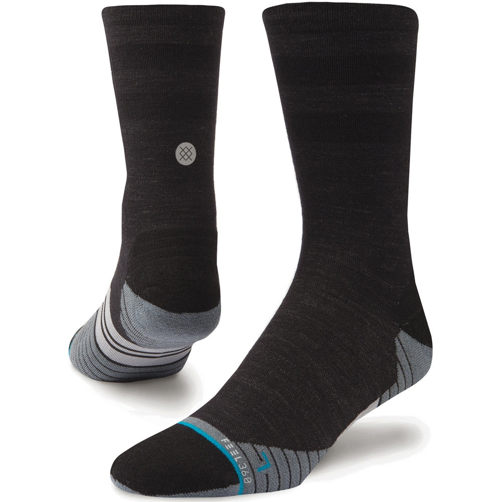 Stance Men's Uncommon Solids Wool Crew Run Socks - Charcoal - achilles heel