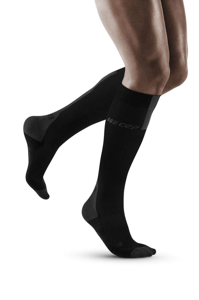 CEP Men's Compression Run Socks 3.0 Black /  Dark Grey - achilles heel