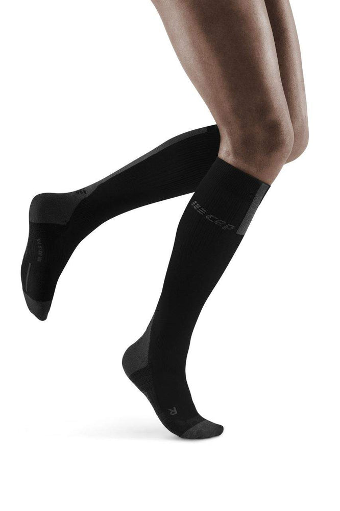 CEP Women's Compression Run Socks 3.0 Black / Dark Grey - achilles heel