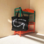 Directory Hungama Mile Repeats Tote Bag Black / Reflective Silver - achilles heel