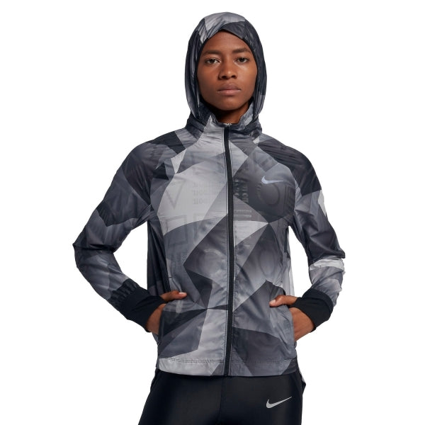 Nike Women's Shield Print Flash Jacket Black HO18 010