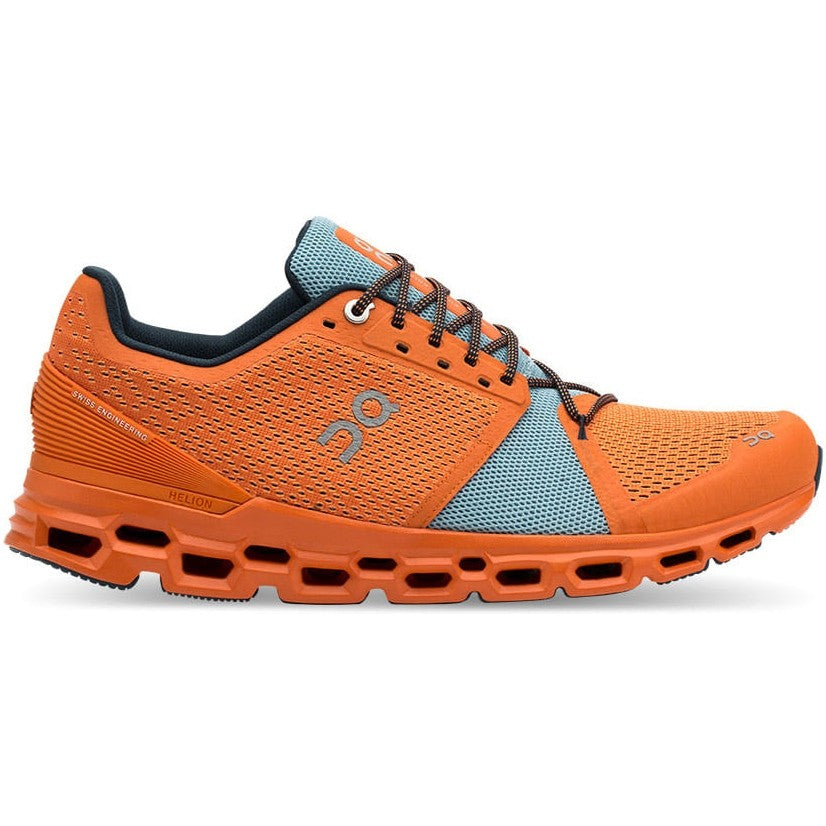 On Men's Cloudstratus Running Shoes Orange  /  Wash - achilles heel