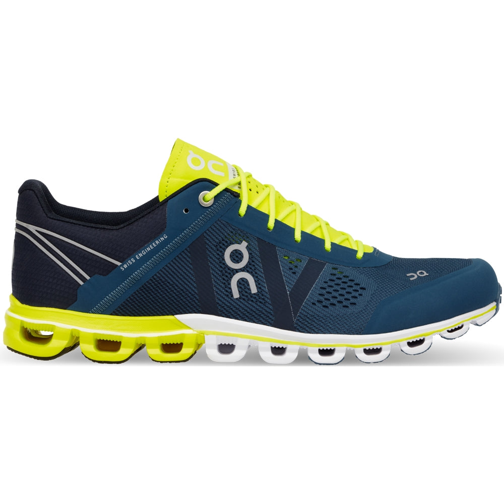 On Men's Cloudflow Running Shoes Petrol & Neon