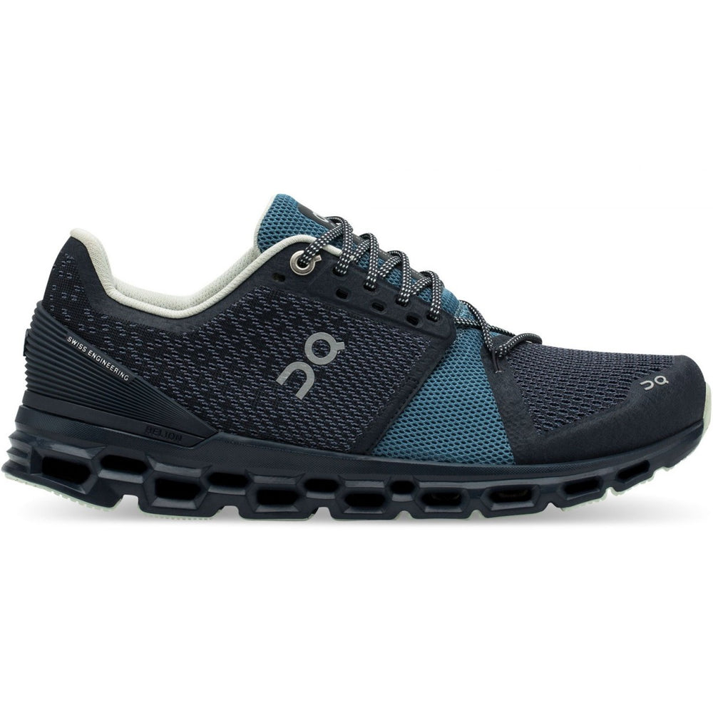 On Women's Cloudstratus Running Shoes Navy /  Dust - achilles heel