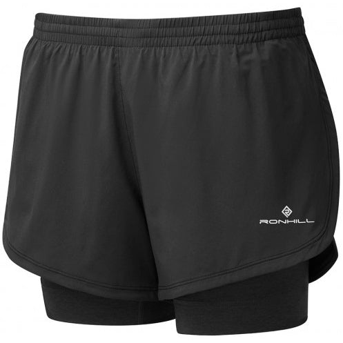 Ronhill Women's Stride Twin Short Back & Charcoal Marl - achilles heel