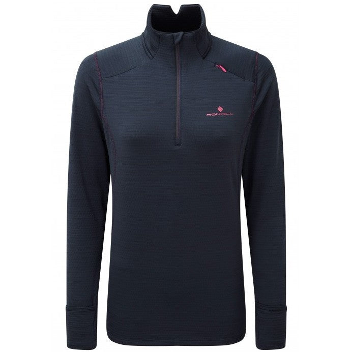 Ronhill Women's Stride Matrix 1/2 Zip Top Deep Navy /  Azalea - achilles heel