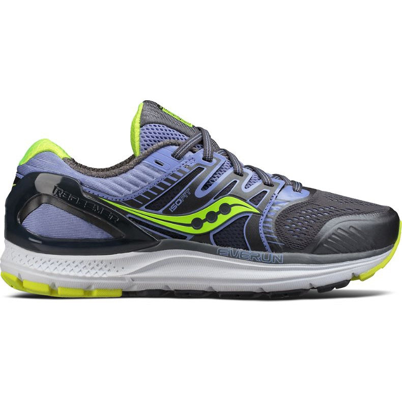 Saucony Women's Redeemer ISO 2 Running Shoes Grey / Purple / Citron - achilles heel