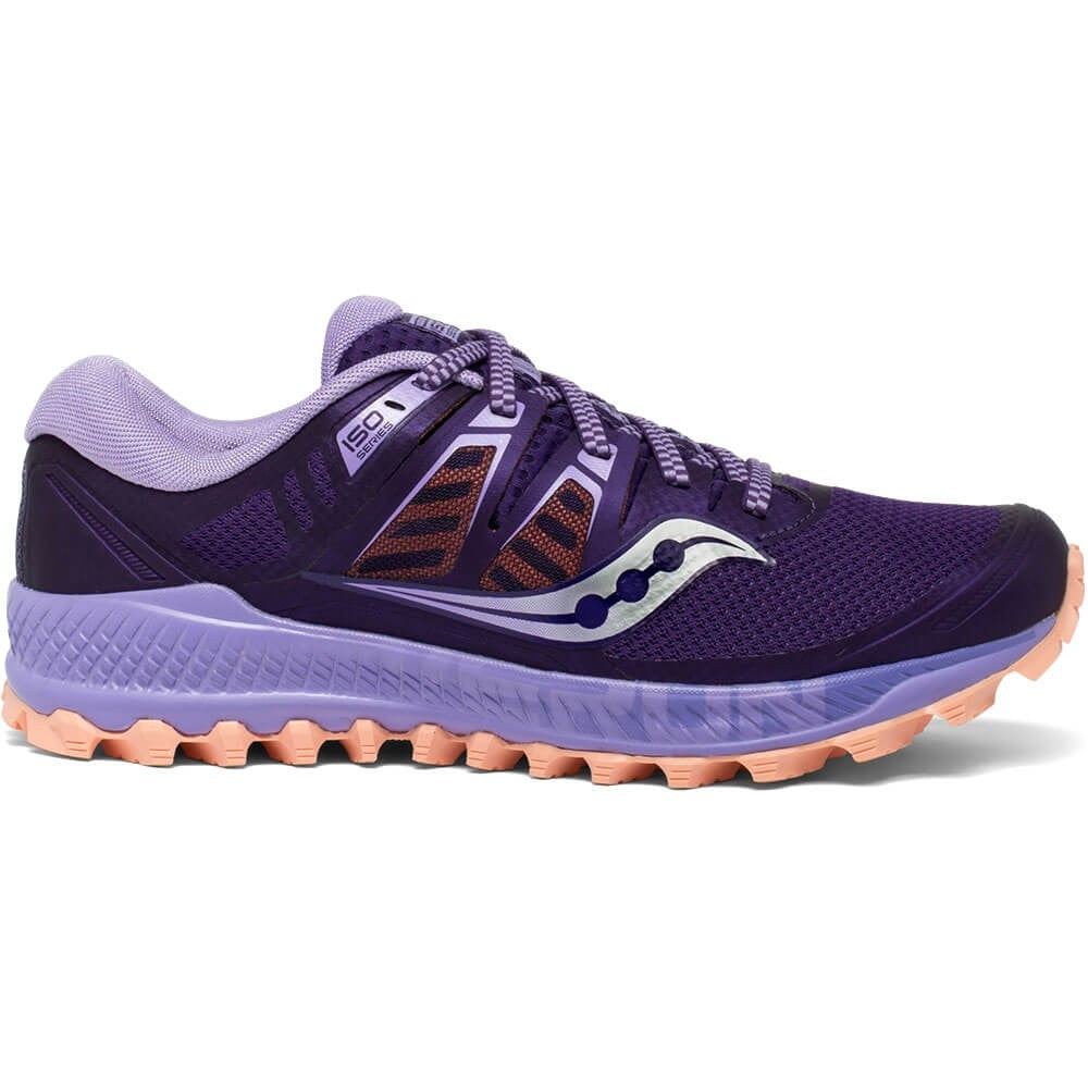Saucony Women's Peregrine ISO Trail Running Shoes Purple / Peach - achilles heel