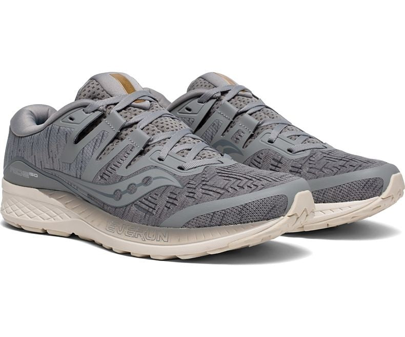 Saucony Men's Ride ISO Running Shoes Grey /Shadow - achilles heel